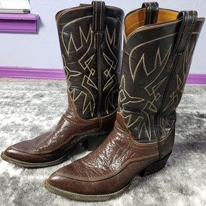 Tony Lama Leather Western Boots Beveled Point Toe